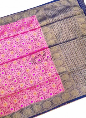 Beautiful Fancy Banarasi Silk Saree in Pink and Navy Blue