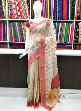 Beautiful Fancy Chanderi Saree in Applique Border