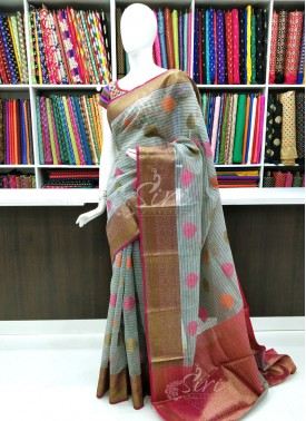 Beautiful Fancy Jute Chanderi Saree In Antique Zari
