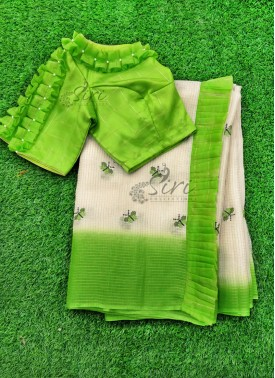 Beautiful Fancy Kota Doria Saree with Designer Patterned Blouse