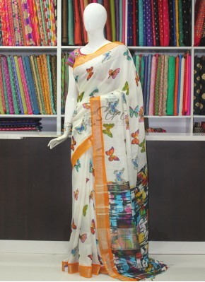 Beautiful Fancy Linen Saree in Butterfly Design Print