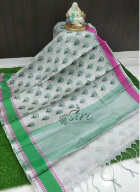 Beautiful Fancy Printed Tissue Saree in Contrast Borders