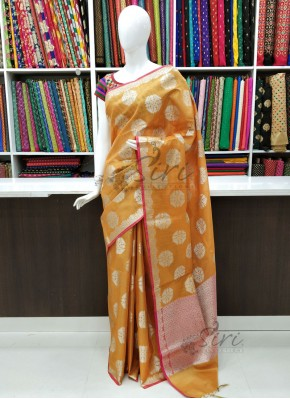 Beautiful Fancy Tissue Cotton Silk Saree in Rich Pallu and Blouse