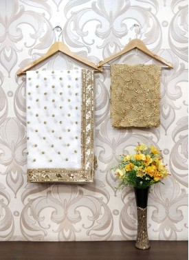 Beautiful Gold and Offwhite Pure Georgette Saree in Sequins Work