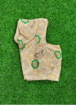 Beautiful Gold Green Embroidery Work Net Fabric Designer Blouse