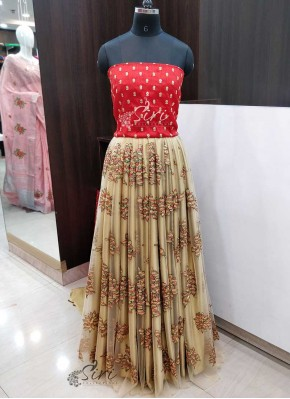 Beautiful Gold Net and Red Raw Silk Lehenga Crop Top Fabric