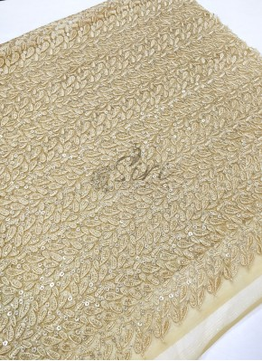 Beautiful Gold Net Fabric in Embroidery and Sequins Work Per Meter