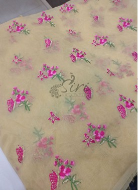 Beautiful Gold Organza Fabric in Butterfly Design Embroidery Work Per Meter