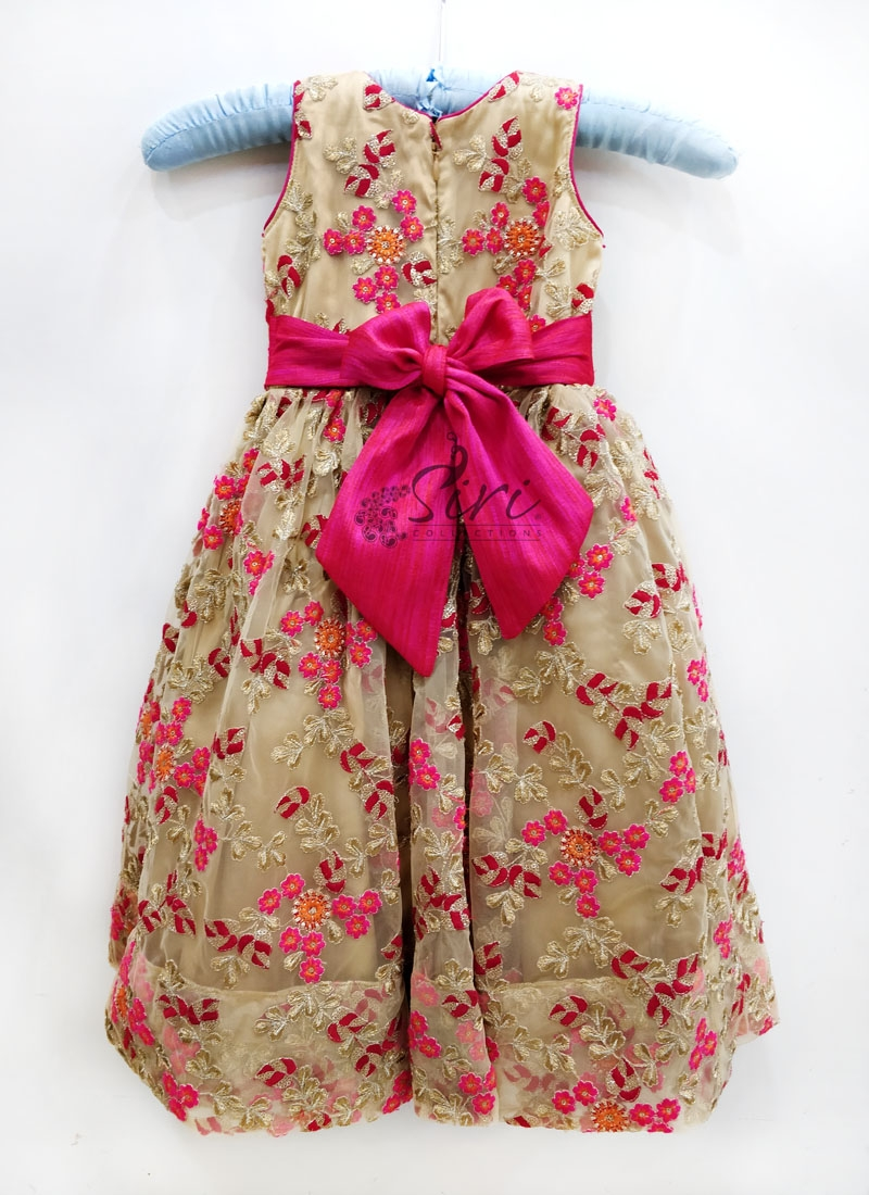 Beautiful Gold Pink Frock for Two Year Old