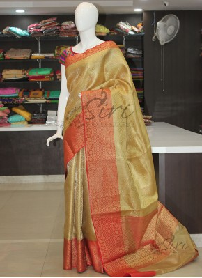 Beautiful Gold Red Saree in Rich Tanchoi Weave