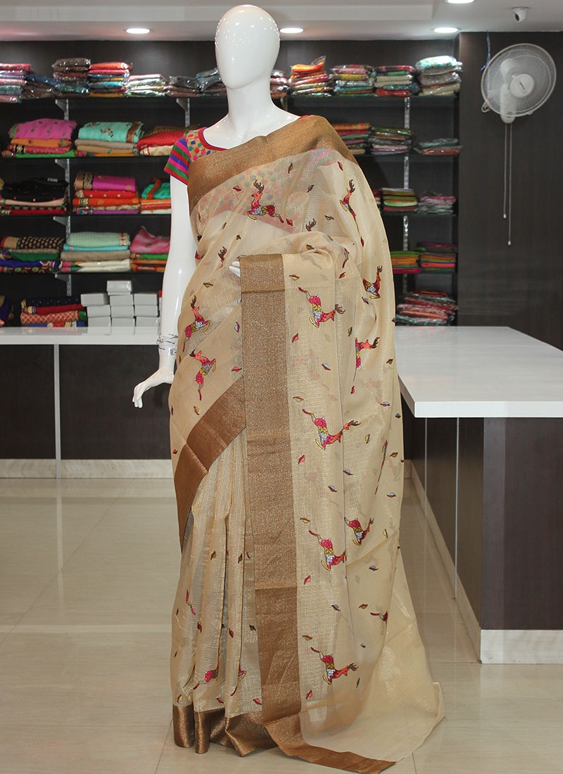 Beautiful Gold Tissue Kota Saree in Embroidery Work