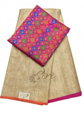 Beautiful Gold Tissue Saree with Banarasi Silk Blo