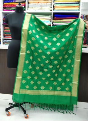 Beautiful Green Banarasi Silk Dupatta