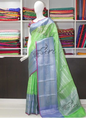 Beautiful Green Blue Banarasi Kora Saree