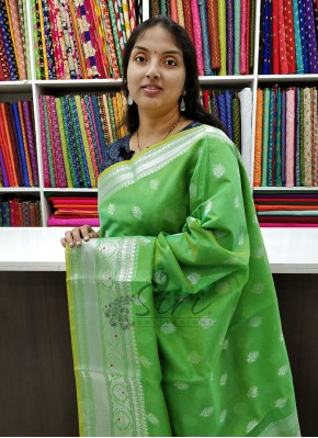 Beautiful Green Chanderi Saree in Silver Zari