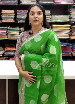 Beautiful Green Fine Banarasi Net Saree in Silver Zari