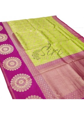 Beautiful Green Magenta Fancy Banarasi Silk/Pattu Saree
