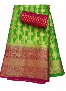 Beautiful Green Organza Saree with Magenta Contrast Border