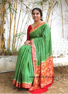 Beautiful Green Red Pure Banarasi Georgette Saree