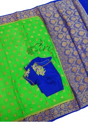 Beautiful Green Royal Blue Pure Banarasi Georgette Saree