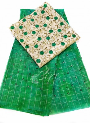 Beautiful Green Shibori Organza Saree with Sequins Work Buti