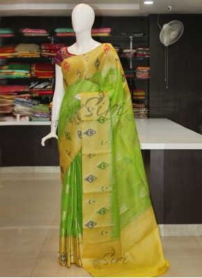 Beautiful Green Yellow Banarasi Linen Saree