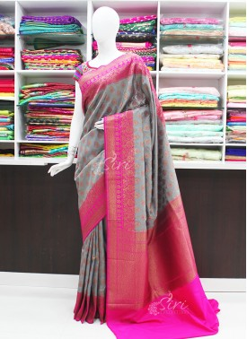 Beautiful Grey and Magenta Pink Banarasi Silk Saree