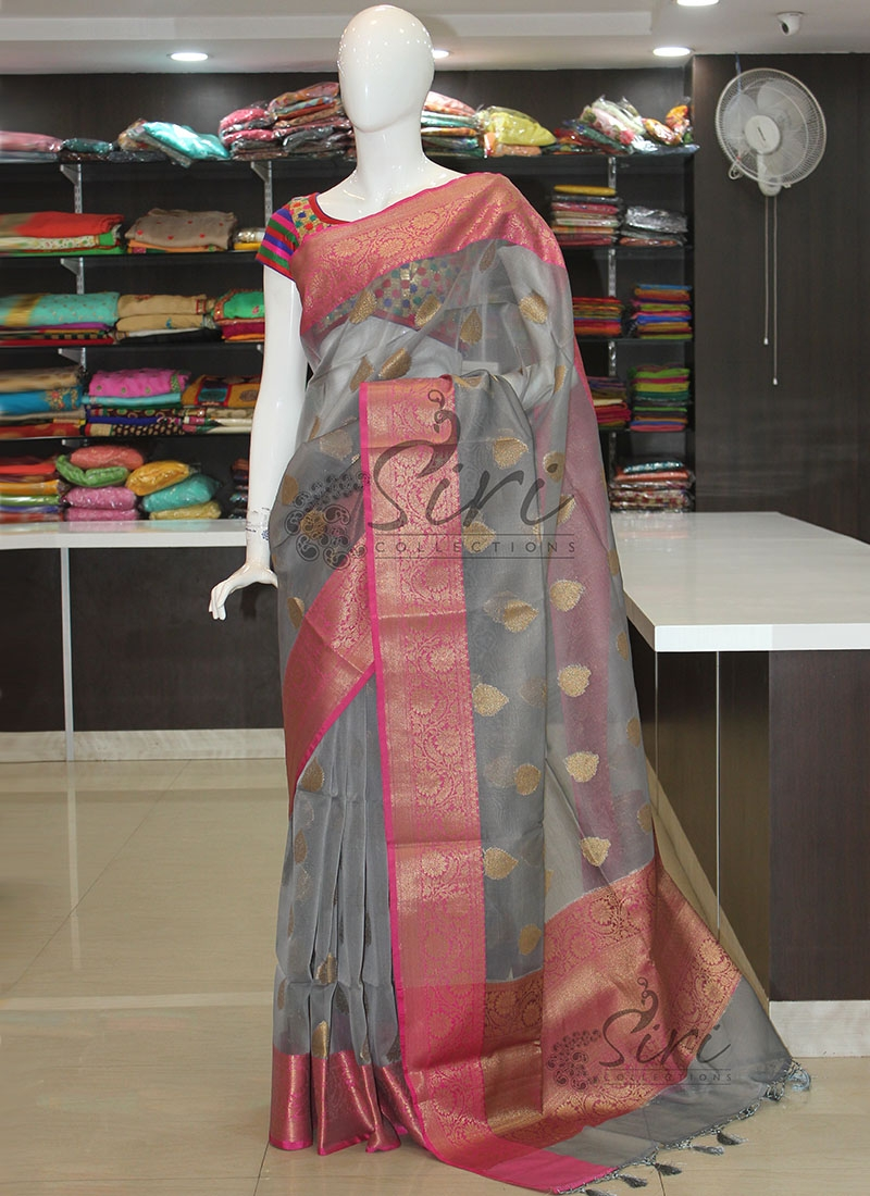 Beautiful Grey Pink Organza Saree in Rich Pallu