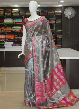 Beautiful Grey Tissue Saree in Contrast Border and Multi Colour Butis