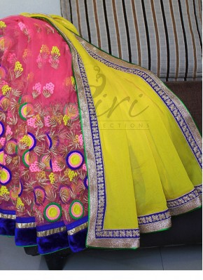 Beautiful Half and Half Saree in Pink multi Colour Embroidery and Georgette with Borders