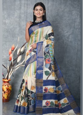 Beautiful Hand Painted Tussar Silk Saree