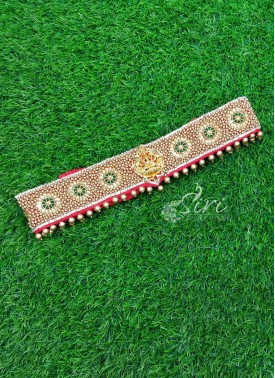 Beautiful HandWork Belt in Lakshmi Unit and Gold Motis