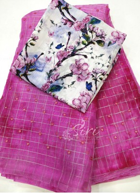 Beautiful Lilac Pink Shibori Organza Saree with Zari Checks and Sequins Butis