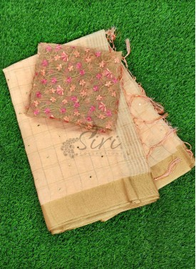 Beautiful Linen Saree Mirror Work and Designer Blouse