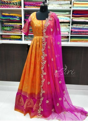 Beautiful Long Frock in Banarasi Silk with CutWork Dupatta