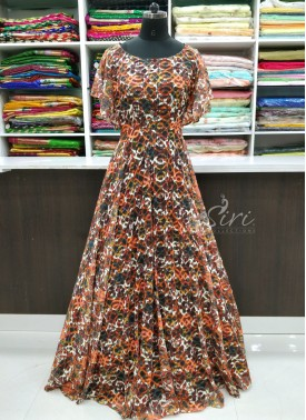 Beautiful Long Frock in Multi Colour Digital Print Lace Net