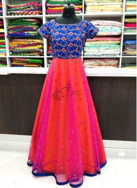 Beautiful Long Frock in Royal Blue Magenta and Orange