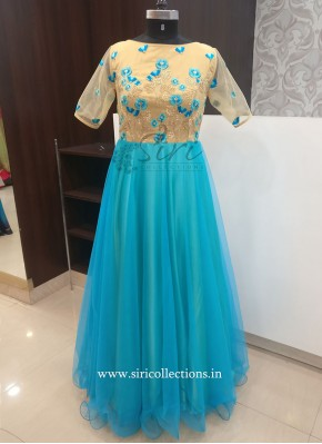 Beautiful Long Frock in Shades of Blue