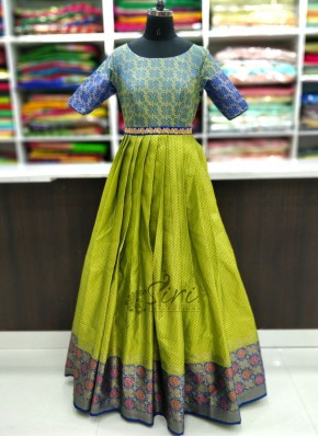 Beautiful Long Frock with Adjustable Hip Waist Belt in Blue