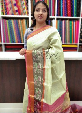 Beautiful Mangalagiri Tissue Pattu Saree in Ikat Borders