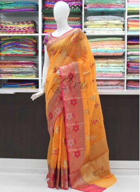 Beautiful Marigold Orange Pink Linen Cotton Blend Saree