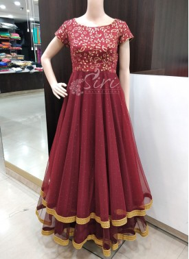 Beautiful Maroon Layered Long Frock