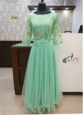 Beautiful Mint Green Net Long Frock