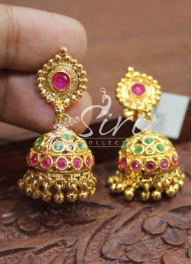 Beautiful Multi AD Stone Jhumkis in Gold Micro Polish