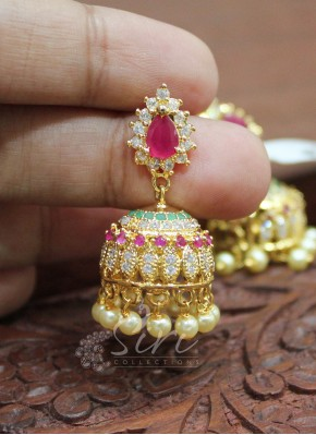 Beautiful Multi AD Stone Jhumkis with Pearl Drops