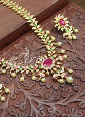 Beautiful Multi AD Stone Necklace Set with Ruby Earrings and Pearl Drops