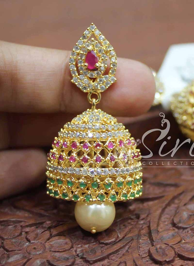 Beautiful Multi Colour AD Stone Jhumkis with Pearl Drops