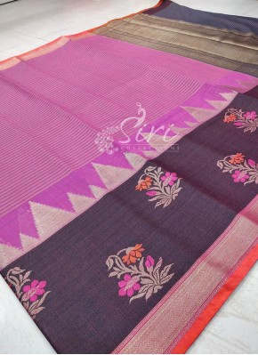 Beautiful Multi Colour Banarasi Cotton Silk Saree