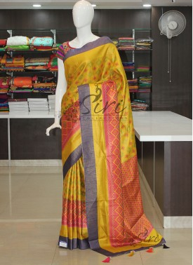 Beautiful Multi Colour Digital Print Patola Design Fancy Silk Saree