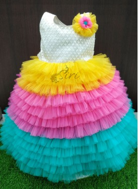 Beautiful Multi Colour Lovely PartyWear Kids Frock for one year old